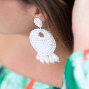 Kenneth jay lane earrings white